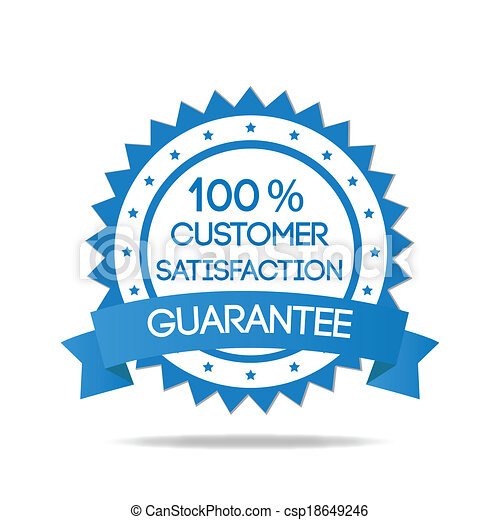 blu, cliente, distintivo, soddisfazione - csp18649246