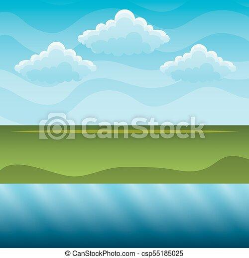 blu, colline, cielo, fiume verde, paesaggio - csp55185025