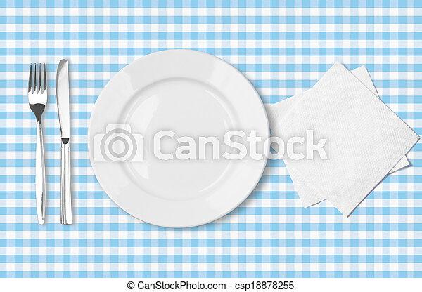 blu, controllato, forchetta, piastra, sopra, tovagliolo, tessuto, tovaglia, cima, coltello, vista - csp18878255