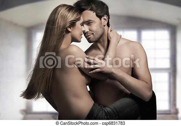 blu, coppia, giovane, bello, jeans, interno - csp6831783