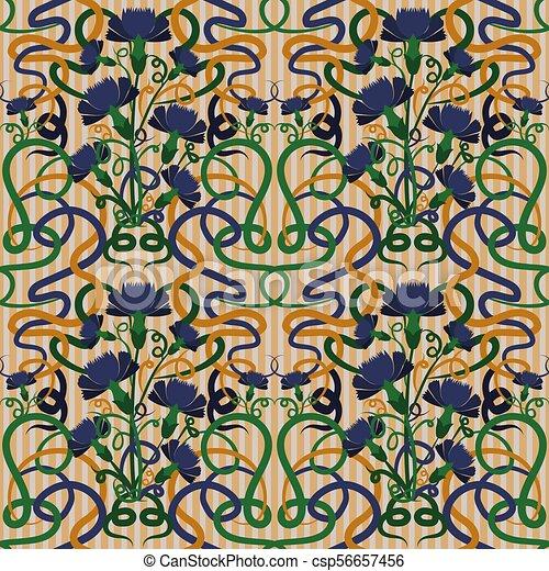 Art Nouveau Carta Da Parati Art Deco.Blu Cornflower Art Nouveau Carta Da Parati Seamless