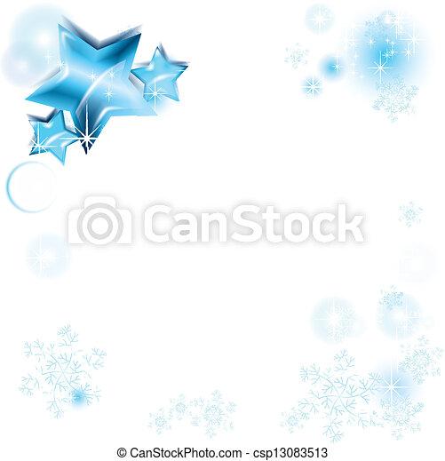 blu, cornice, fiocchi neve, stelle - csp13083513