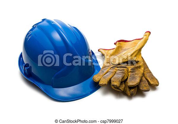 blu, cuoio, guanti, lavorativo, hardhat - csp7999027