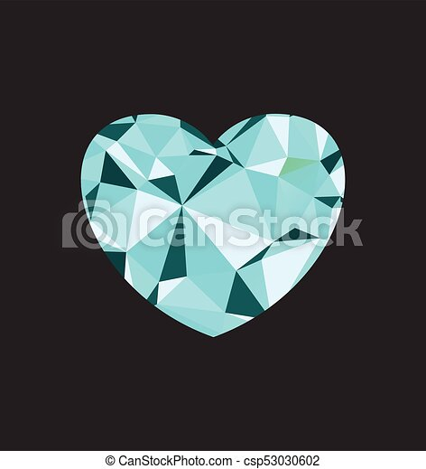 Blu cuore diamante cuore vettore amore illustration regalo