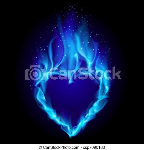 Blu Cuore Fuoco Blu Cuore Illustrazione Fire Sfondo Nero