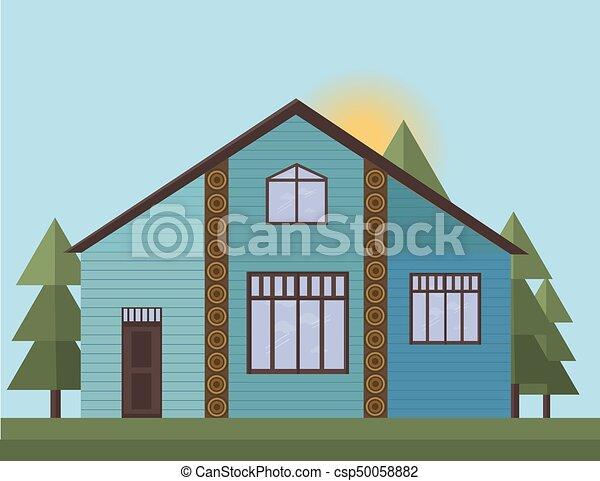 blu, dipinto, casa, illustrazione, legno, vettore, tramonto, fondo, forrest., facciata - csp50058882