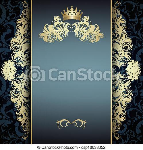 blu, elegante, dorato, modello - csp18033352