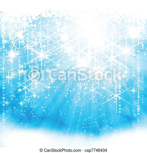 blu, (eps10), luce festiva, sfavillante, fondo - csp7746434
