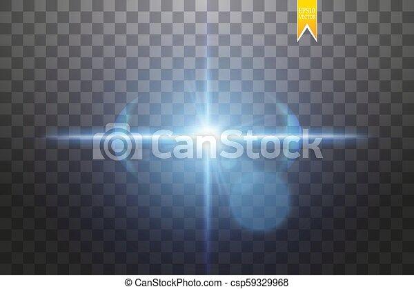 blu, esplosione, differente, raggi, stella, scintille, volare, particelle, illustrazione, effetto, vettore, flash., fondo, lens., indicazione, trasparente, splendore - csp59329968