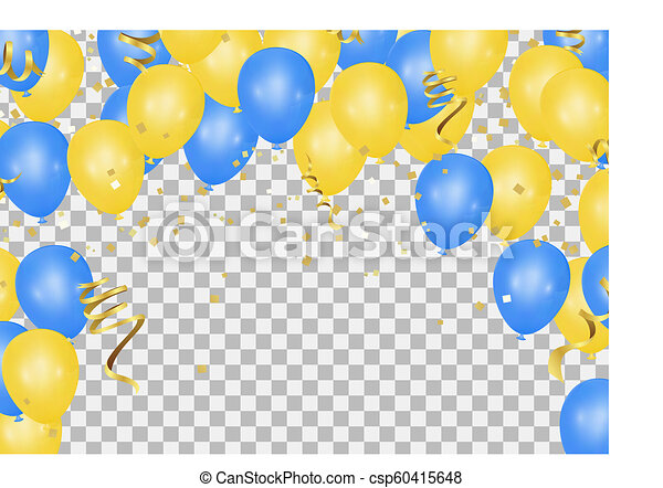 blu, essere, usato, pavimento, compleanni, matrimoni, giallo, lattina, events., palloni, traslucido - csp60415648