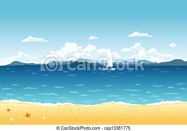 blu, estate, navigazione, montagne, paesaggio, mare, barca, horizon. - csp13381775