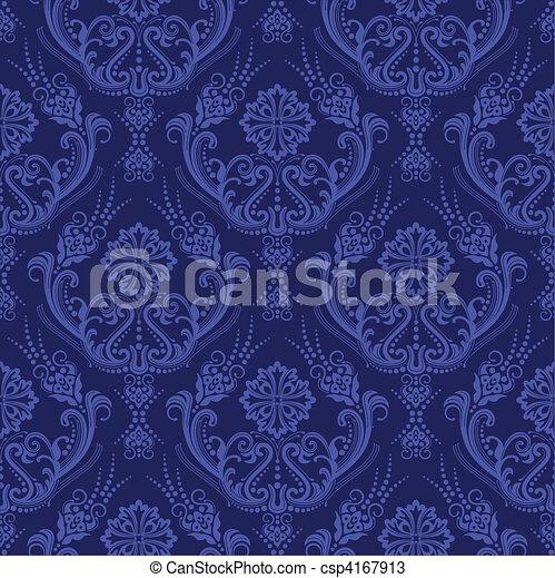 blu, floreale, carta da parati, lusso, damasco - csp4167913