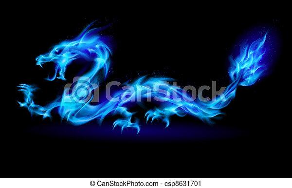 Blu Fuoco Drago Astratto Illustrazione Dragon Sfondo Nero