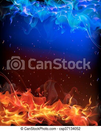 Blu Fuoco Sfondo Rosso Blu Arte Illustration Fuoco Vettore