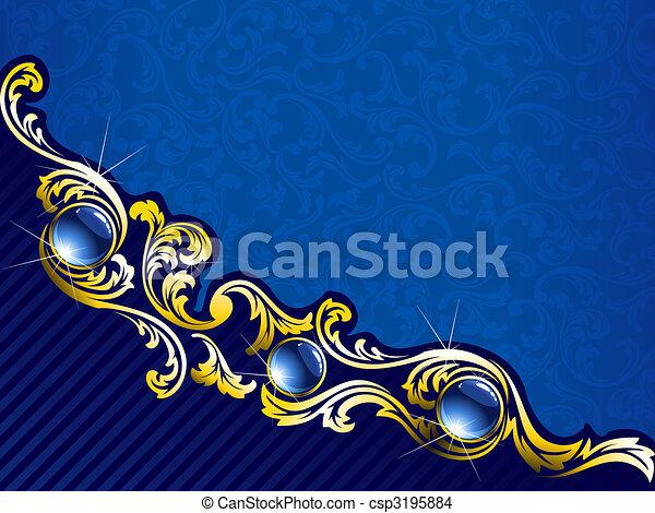 blu, gemme, oro, elegante, fondo, orizzontale - csp3195884