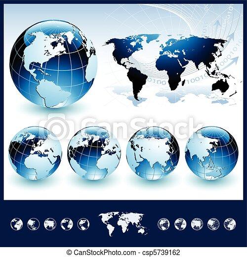 blu, globi, mappa mondo - csp5739162
