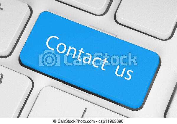 blu, grande, bottone, ci, contatto, tastiera - csp11963890