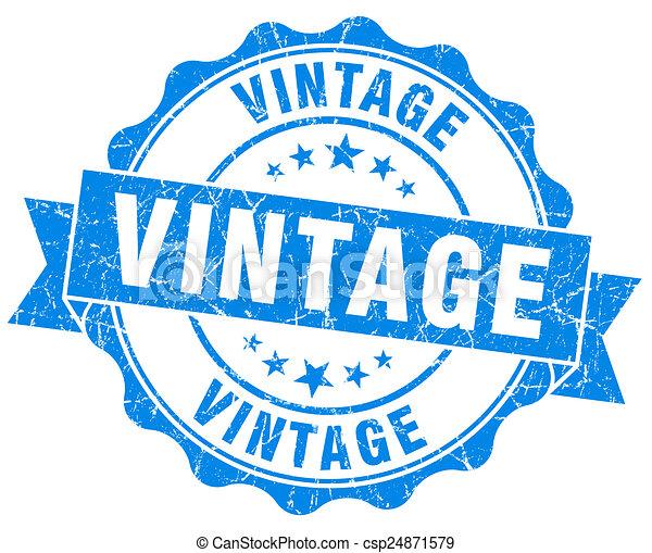 blu, grunge, vendemmia, isolato, sigillo, bianco - csp24871579