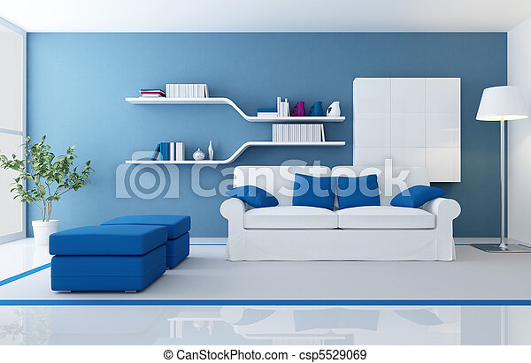blu, interno, moderno - csp5529069