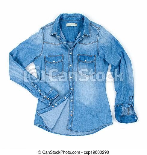 blu, isolato, jean, camicia, bianco - csp19800290