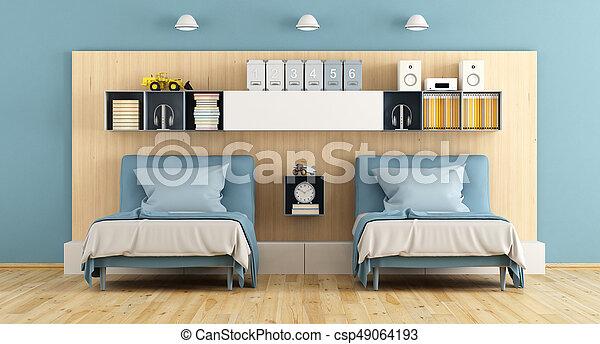 Blu, legno, adolescente, camera letto. Adolescente, legno, mensola ...