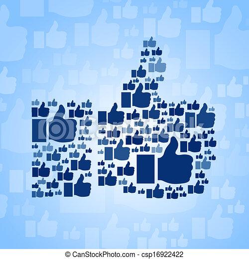 "blu, ""like"", simbolo, fondo - csp16922422"