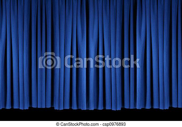 blu, luminoso, palcoscenico, drappi teatro - csp0976893