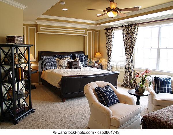 blu, maestro, nero, camera letto - csp0861743