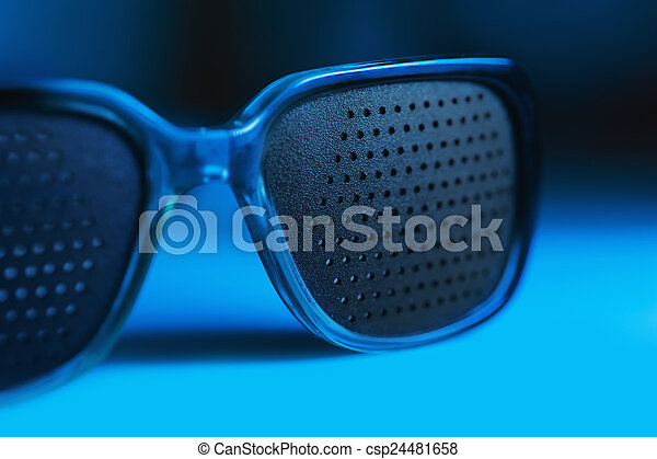 blu, medico, occhiali, sfondi, buco - csp24481658