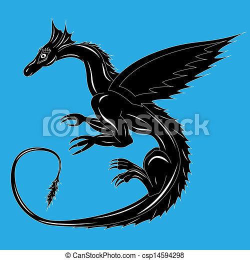 Blu Nero Drago Blu Flight Editable Illustrazione Drago