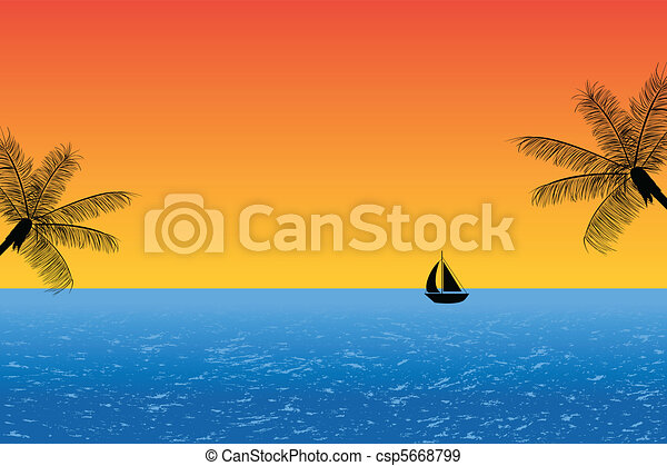 blu, oceano tramonto - csp5668799