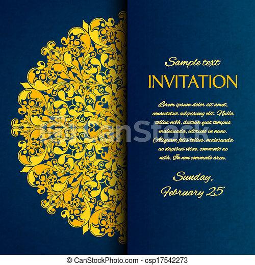 blu, ornamentale, oro, ricamo, invito, scheda - csp17542273