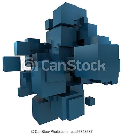 blu, petrolio, fondo, cubico - csp26343537