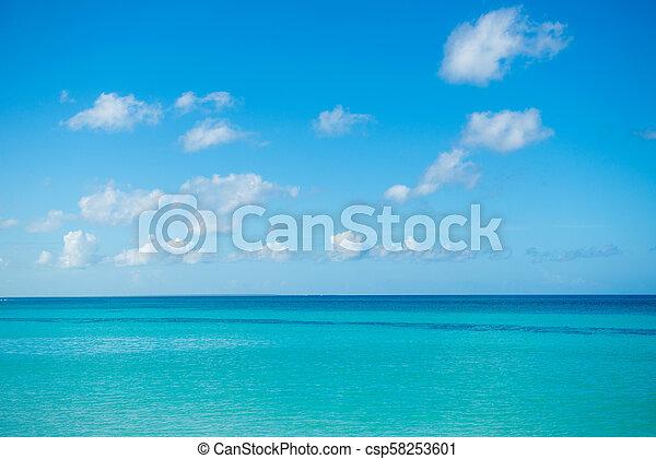 blu, pittoresco, marina, sky., nuvoloso, oceano, calma, mare, horizon. - csp58253601
