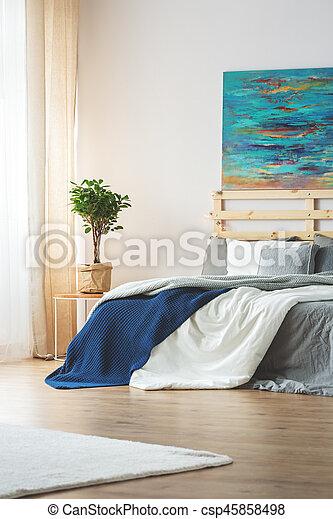 Blu, pittura, camera letto. Blu, king-size, moderno, letto, sopra ...