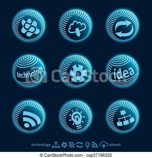 Blu planet icons - csp37196332
