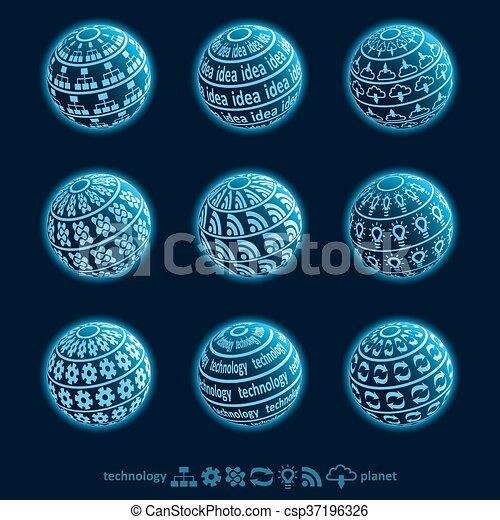 Blu planet icons - csp37196326