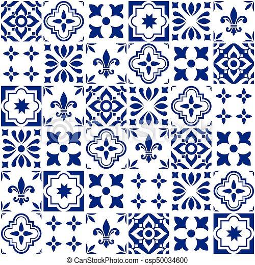 Blu, Portoghese, O, Modello, Azulejos, Seamless, Piastrella, Vettore,