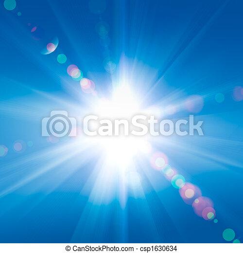 blu, raggi sole, cielo, contro - csp1630634