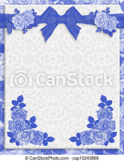 blu, rose, invito matrimonio - csp15243869