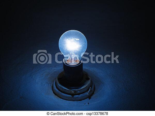 blu, scuro, lampada, illuminazione, stanza - csp13378678