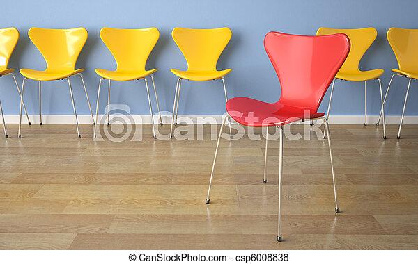 blu, sedie, parete, fila - csp6008838