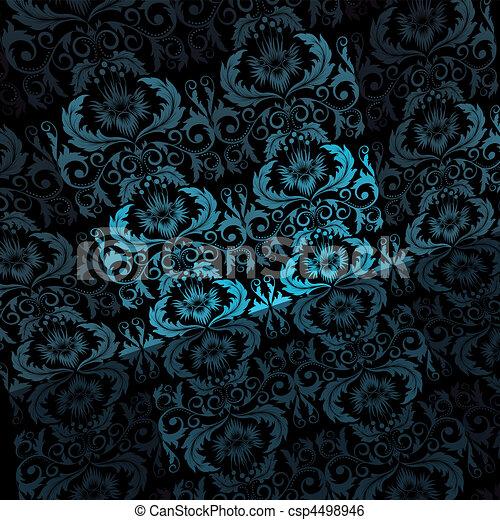 Blu Sfondo Nero Fogli Azzurro Fiori Sfondo Nero