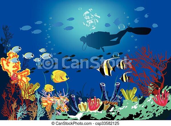 blu, silhouette, pesce scoglio, corallo, tuffatore, fondo., vario, mare, specie, sopra - csp33582125