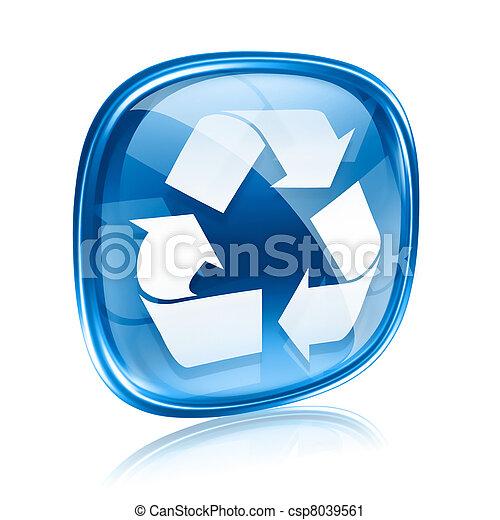 blu, simbolo, riciclaggio, isolato, fondo., vetro, bianco, icona - csp8039561