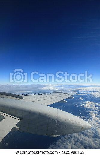 blu, sky., lotti, copy-space, ala aeroplano, available. - csp5998163