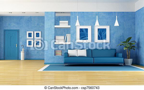 Blu, soggiorno. Blu, arte vivente, stanza, parete, divano, door ...