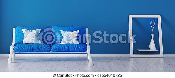 blu, soggiorno, moderno, divano, interpretazione, disegno, interno, 3d - csp54640725
