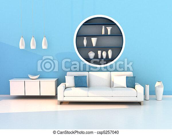 blu, soggiorno, stanza moderna - csp5257040