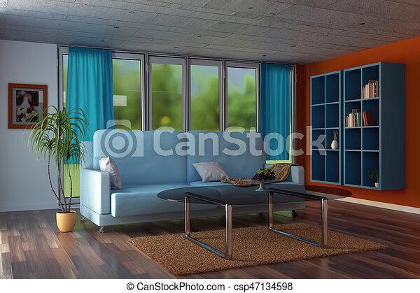 blu, soggiorno, tenda, moderno, interpretazione, pareti, arancia, 3d